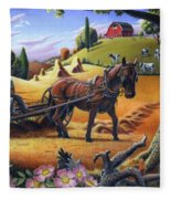 Raking Hay Field Rustic Country Farm Folk Art Landscape Fleece Blanket