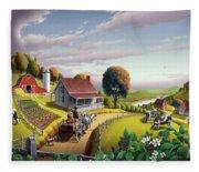 Appalachian Blackberry Patch Rustic Country Farm Folk Art Landscape - Rural Americana - Peaceful Fleece Blanket