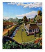 Appalachia Summer Farming Landscape - Appalachian Country Farm Life Scene - Rural Americana Fleece Blanket