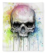 Skull Watercolor Painting Fleece Blanket