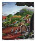 Wild Turkeys Appalachian Thanksgiving Landscape - Childhood Memories - Country Life - Americana Fleece Blanket