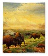 Buffalo Fox Great Plains Western Landscape Oil Painting - Bison - Americana - Historic - Walt Curlee Fleece Blanket