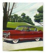 1953 Nash Rambler Car Americana Rustic Rural Country Auto Antique Painting Red Golf Fleece Blanket