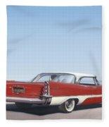 1957 De Soto Car Nostalgic Rustic Americana Antique Car Painting Red  Fleece Blanket