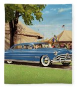 1951 Hudson Hornet Fair Americana Antique Car Auto Nostalgic Rural Country Scene Landscape Painting Fleece Blanket