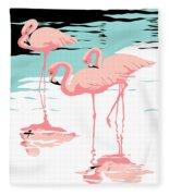 Pink Flamingos Tropical 1980s Abstract Pop Art Nouveau Graphic Art Retro Stylized Florida Print Fleece Blanket