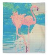 Square Format - Pink Flamingos Retro Pop Art Nouveau Tropical Bird 80s 1980s Florida Painting Print Fleece Blanket