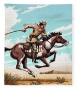 Pony Express Rider Historical Americana Painting Desert Scene Fleece Blanket