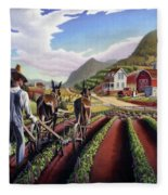 Appalachian Folk Art Summer Farmer Cultivating Peas Farm Farming Landscape Appalachia Americana Fleece Blanket