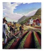 Appalachian Folk Art Summer Farmer Cultivating Peas Farm Farming Landscape Appalachia Americana Fleece Blanket