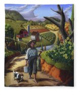 Boy And Dog Farm Landscape - Flashback - Childhood Memories - Americana - Painting - Walt Curlee Fleece Blanket