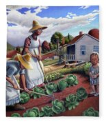 Family Vegetable Garden Farm Landscape - Gardening - Childhood Memories - Flashback - Homestead Fleece Blanket