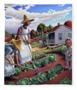 Family Vegetable Garden Farm Landscape - Gardening - Childhood Memories - Flashback - Homestead Fleece Blanket