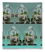 White Tiger And The Taj Mahal Image Of Beauty Fleece Blanket