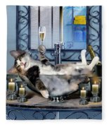 Funny Pet Print With A Tipsy Kitty  Fleece Blanket