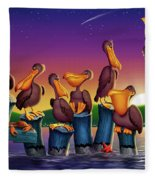 Pelican Sunset Whimsical Cartoon Tropical Birds Seascape Print Blue Orange Purple Yellow Fleece Blanket