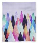 Colorful Abstract Geometric Triangle Peak Woods  Fleece Blanket