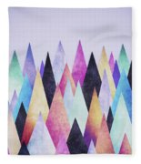 Colorful Abstract Geometric Triangle Peak Woods  Fleece Blanket