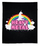 Heavy Metal Funny Unicorn  Rainbow Mosh Parody Design Fleece Blanket