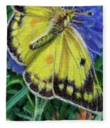 Butterfly Wildflowers Spring Time Garden Floral Oil Painting Green Yellow Fleece Blanket