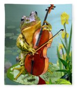 Humorous Scene Frog Playing Cello In Lily Pond Fleece Blanket