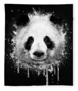 Cool Abstract Graffiti Watercolor Panda Portrait In Black And White  Fleece Blanket