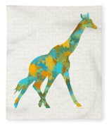 Giraffe Watercolor Art Fleece Blanket