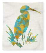 Heron Watercolor Art Fleece Blanket