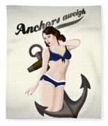 Anchors Aweigh - Classic Pin Up Fleece Blanket