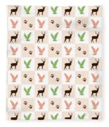 Rustic Wildlife Pattern Fleece Blanket