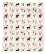 Rustic Wildlife Pattern Fleece Blanket