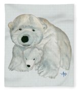 Cuddly Polar Bear Watercolor Fleece Blanket