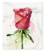 Rose Watercolor Fleece Blanket by Olga Shvartsur