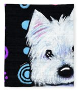 Kiniart Disco Westie Fleece Blanket