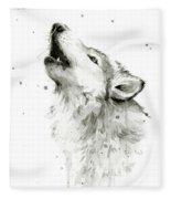 Howling Wolf Watercolor Fleece Blanket by Olga Shvartsur