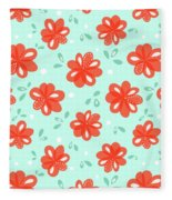 Cheerful Red Flowers Fleece Blanket