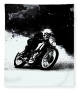 Vintage Motorcycle Racer Fleece Blanket