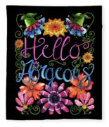 Hello Gorgeous Black  Fleece Blanket