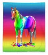 Colorful Rainbow Paint Horse Fleece Blanket