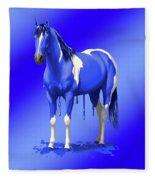 Royal Blue Wet Paint Horse Fleece Blanket