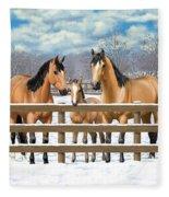 Buckskin Quarter Horses In Snow Fleece Blanket