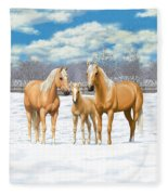 Palomino Horses In Winter Pasture Fleece Blanket