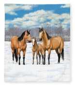 Buckskin Horses In Winter Pasture Fleece Blanket