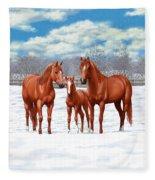Chestnut Horses In Winter Pasture Fleece Blanket