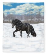 Black Friesian Horse In Snow Fleece Blanket