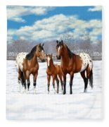 Bay Appaloosa Horses In Winter Pasture Fleece Blanket