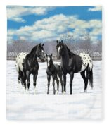 Black Appaloosa Horses In Winter Pasture Fleece Blanket