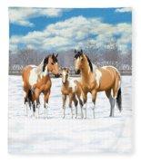 Buckskin Paint Horses In Winter Pasture Fleece Blanket