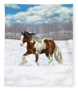 Bay Pinto Gypsy Vanner In Snow Fleece Blanket