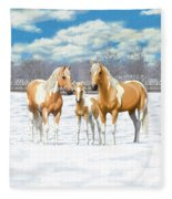 Palomino Paint Horses In Winter Pasture Fleece Blanket